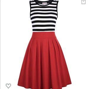 Black/white dress with red skirt